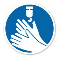 Gebotszeichen Hände desinfizieren