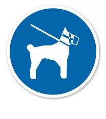Gebotszeichen Hunde Maulkorb und Leinenzwang
