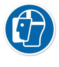 Gebotszeichen Gesichtsschutz benutzen nach DIN EN ISO 7010 - M 013