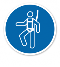Gebotszeichen Auffanggurt / Sicherungsseil benutzen nach DIN EN ISO 7010 - M 018