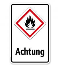 GHS - Schild Achtung, entzündbare Gase, Stoffe, Flüssigkeiten, Aerosole
