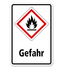 GHS - Schild Gefahr, entzündbare Gase, Stoffe, Flüssigkeiten, Aerosole