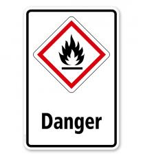 GHS - Schild Danger, entzündbare Gase, Stoffe, Flüssigkeiten, Aerosole