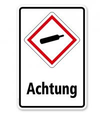 GHS - Schild Achtung, Gase unter Druck