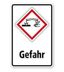 GHS - Schild Gefahr, ätzend, korrosiv wirkend