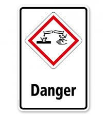 GHS - Schild Danger, ätzend, korrosiv wirkend
