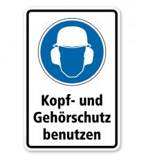 Gebotsschild Kopf- und Gehörschutz benutzen