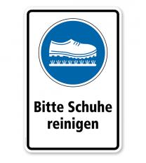 Gebotsschild Bitte Schuhe reinigen