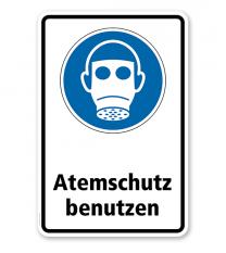 Gebotsschild Atemschutz benutzen nach DIN EN ISO 7010