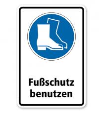 Gebotsschild Fußschutz benutzen nach DIN EN ISO 7010