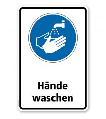 Gebotsschild Hände waschen nach DIN EN ISO 7010