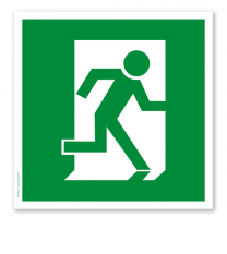 Rettungszeichen Fluchtrichtung / Notausgang rechts (alte Norm)