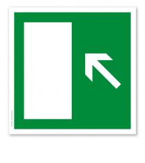 Rettungszeichen Notausgang diagonal hoch (alte Norm)
