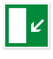 Rettungszeichen Notausgang diagonal runter (alte Norm)