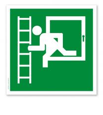 Rettungszeichen Notausgang mit Fluchtleiter links (alte Norm)