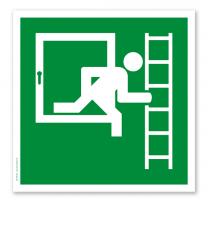 Rettungszeichen Notausgang mit Fluchtleiter rechts (alte Norm)