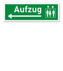 Fluchtwegschild / Rettungsschild Aufzug links
