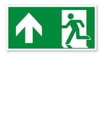 Fluchtwegschild Rettungsweg geradeaus / links oben nach DIN EN ISO 7010 - E 001-5