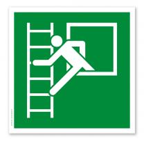 Rettungszeichen Notausstieg mit Fluchtleiter nach DIN EN ISO 7010 - E 016