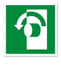 Rettungszeichen Öffnen gegen den Uhrzeigersinn nach DIN EN ISO 7010 - E 018