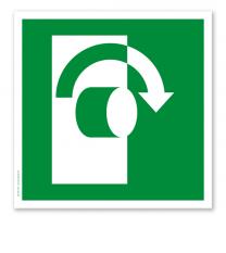 Rettungszeichen Öffnen im Uhrzeigersinn nach DIN EN ISO 7010 - E 019