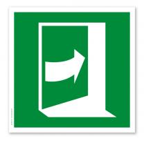 Rettungszeichen Tür öffnet durch Drücken auf der rechten Seite nach DIN EN ISO 7010 - E 023