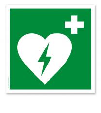 Rettungszeichen Automatisierter externer Defibrillator (alte Norm)
