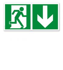 Fluchtwegschild Rettungsweg rechts unten (alte Norm)