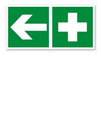 Fluchtwegschild Erste Hilfe links (alte Norm)