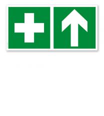 Fluchtwegschild Erste Hilfe oben (alte Norm)