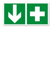 Fluchtwegschild Erste Hilfe unten (alte Norm)