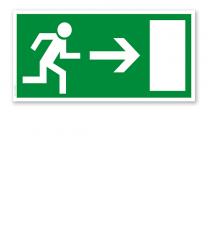 Fluchtwegschild Rettungsweg / Notausgang rechts (alte Norm)