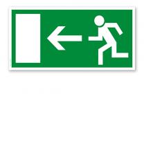 Fluchtwegschild Rettungsweg / Notausgang links (alte Norm)