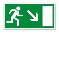 Fluchtwegschild Rettungsweg / Notausgang runter rechts (alte Norm)