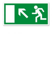 Fluchtwegschild Rettungsweg / Notausgang hoch links (alte Norm)