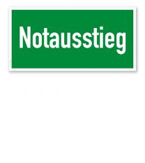Fluchtwegschild Rettungsweg / Notausstieg
