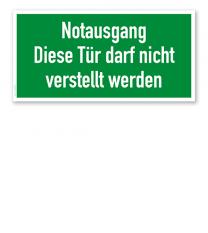 Fluchtwegschild Rettungsweg / Notausgang - Diese Tür darf nicht verstellt werden