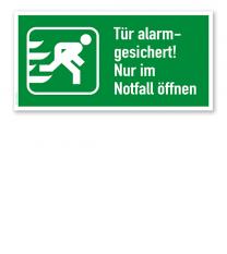 Fluchtwegschild Tür alarmgesichert! Nur im Notfall öffnen - rechts