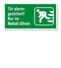 Fluchtwegschild Tür alarmgesichert! Nur im Notfall öffnen - links