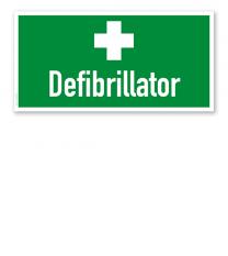 Fluchtwegschild Defibrillator