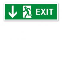 Fluchtwegschild / Rettungsschild Exit abwärts