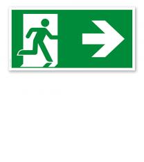 Fluchtwegschild Rettungsweg rechts nach DIN EN ISO 7010 - E 002-1