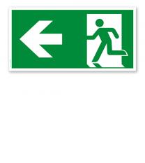 Fluchtwegschild Rettungsweg links nach DIN EN ISO 7010 - E 001-1