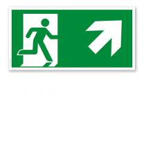 Fluchtwegschild Rettungsweg rechts aufwärts nach DIN EN ISO 7010 - E 002-3