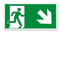 Fluchtwegschild Rettungsweg rechts abwärts nach DIN EN ISO 7010 - E 002-2
