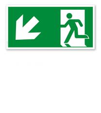 Fluchtwegschild Rettungsweg links abwärts nach DIN EN ISO 7010 - E 001-2