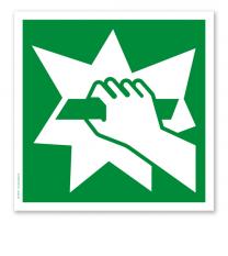 Rettungszeichen Notausstiegsvorrichtung nach DIN EN ISO 7010 - E 008
