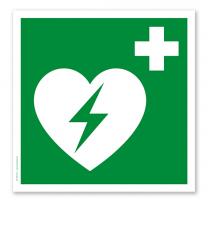 Rettungszeichen Automatisierter externer Defibrillator nach DIN EN ISO 7010 - E 010