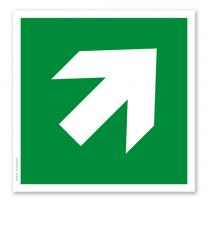 Rettungszeichen Richtungsangabe diagonal nach DIN EN ISO 7010
