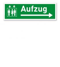 Fluchtwegschild / Rettungsschild Aufzug rechts